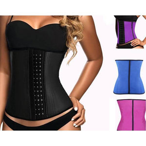 Latex Waist Trainer Corset 9 Steel Bone Shapewear Women Body Shapers-Shapewear-Sour Grapes Online-Black-XXS-