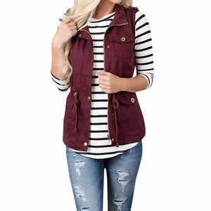 Lightweight Sleeveless Drawstring Jacket Vest with Zipper-Jackets-Sour Grapes Online-DarkRed-S-
