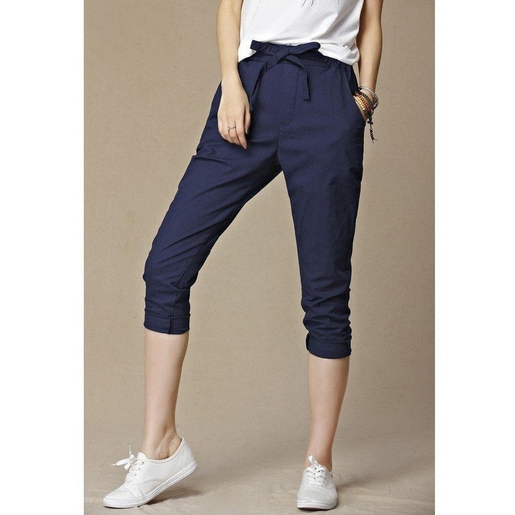 Linen Drawstring Pure Capris Harem Trousers-Capris-Sour Grapes Online-navy-M-