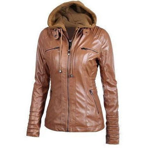 Long Sleeve Hooded Winter Coat with Zipper Leather Brown Motorcycle Jacket-Jackets-Sour Grapes Online-Brown-L-