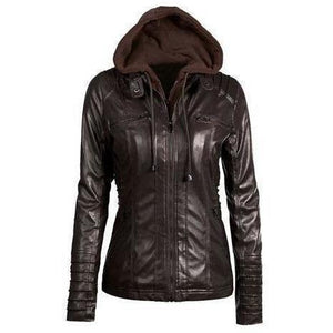 Long Sleeve Hooded Winter Coat with Zipper Leather Motorcycle Jacket-Jackets-Sour Grapes Online-Black-L-