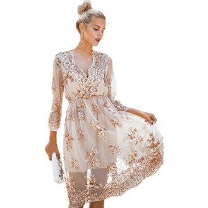 Long Sleeve V Neck Sequin Party Sexy Mesh Midi Dress-Dress-Sour Grapes Online-Beige-S-