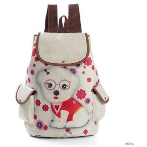 Lovely Dog Print Canvas School Drawstring Backpack for Girls-Backpack-Sour Grapes Online-Red-