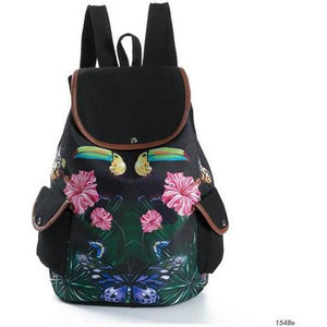 Lovely Floral Print Canvas School Drawstring Backpack for Girls-Backpack-Sour Grapes Online-Black-
