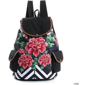 Lovely Floral Print Canvas School Drawstring Backpack for Girls-Backpack-Sour Grapes Online-Rose-