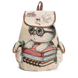 Lovely Kitty Cat Print Canvas School Backpack for Girls-Backpack-Sour Grapes Online-Beige-