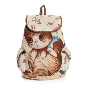 Lovely Kitty Cat Print Canvas School Backpack for Girls-Backpack-Sour Grapes Online-Brown-