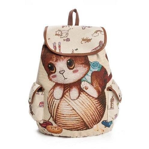 908070a28c Lovely Kitty Cat Print Canvas School Backpack for Girls