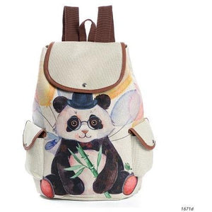 Lovely Panda Printed Canvas School Backpack for Girls-Backpack-Sour Grapes Online-Black-