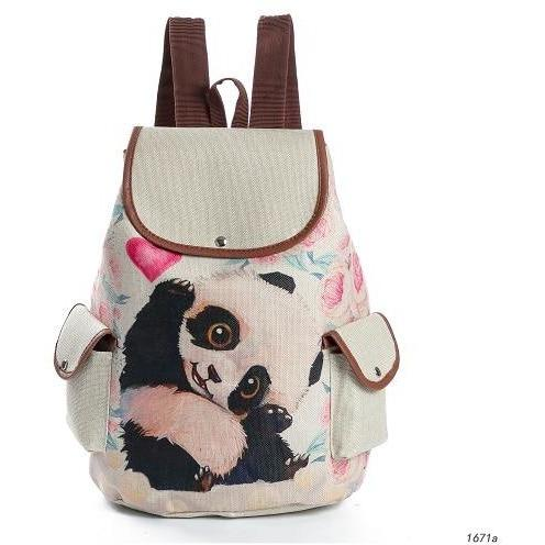 82992dc8d Lovely Panda Printed Canvas School Backpack for Girls-Backpack-Sour Grapes  Online-Pink