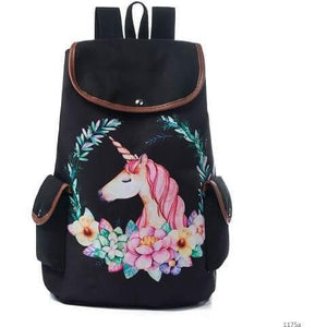 Lovely Unicorn Printed Canvas School Backpack for Girls-Backpack-Sour Grapes Online-Rose-