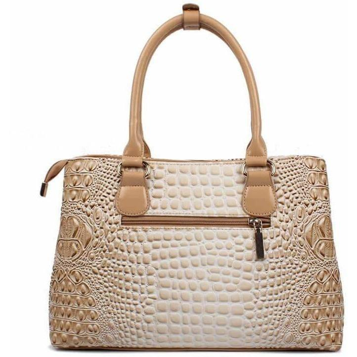 Luxury Designer Crocodile Leather Tote Bag - 4 colors-Handbag-Sour Grapes Online-White-35cm x 13cm x 24cm-