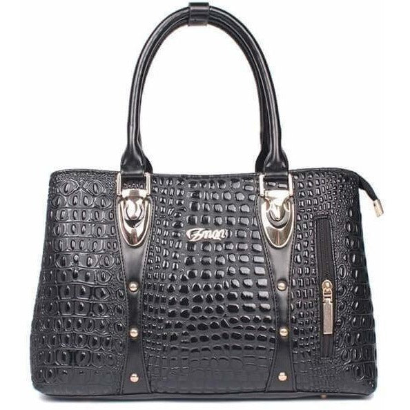Luxury Designer Crocodile Leather Tote Bag - 4 colors-Handbag-Sour Grapes Online-Black-35cm x 13cm x 24cm-