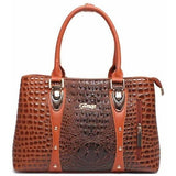 Luxury Designer Crocodile Leather Tote Bag - 4 colors-Handbag-Sour Grapes Online-Brown-35cm x 13cm x 24cm-