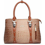 Luxury Designer Crocodile Leather Tote Bag - 4 colors-Handbag-Sour Grapes Online-Beige-35cm x 13cm x 24cm-