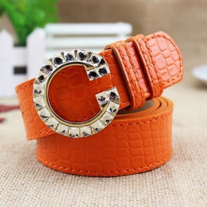 Luxury G Buckle Women Bow Waist Belt-Belt-Sour Grapes Online-Orange-105cm-