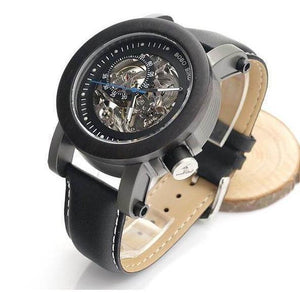 Luxury Genuine Leather Black Dial Mechanical Watch-Watch-Sour Grapes Online-Black-