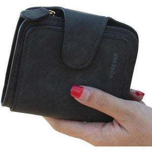 Lady Snap Fastener Zipper Short Clutch Wallet Solid Letter Fashion Small Female Purse Short Purse Vintage Matte Women Wallet-Wallet-Sour Grapes Online-Black-