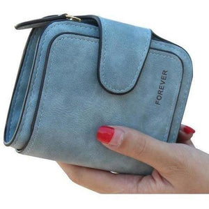 Lady Snap Fastener Zipper Short Clutch Wallet Solid Letter Fashion Small Female Purse Short Purse Vintage Matte Women Wallet-Wallet-Sour Grapes Online-Blue-