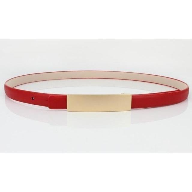 Metal Brief All-Match Genuine Leather Thin Belt Female-Belt-Sour Grapes Online-Red-100cm-