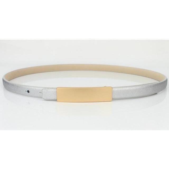 Metal Brief All-Match Genuine Leather Thin Belt Female-Belt-Sour Grapes Online-Silver-100cm-