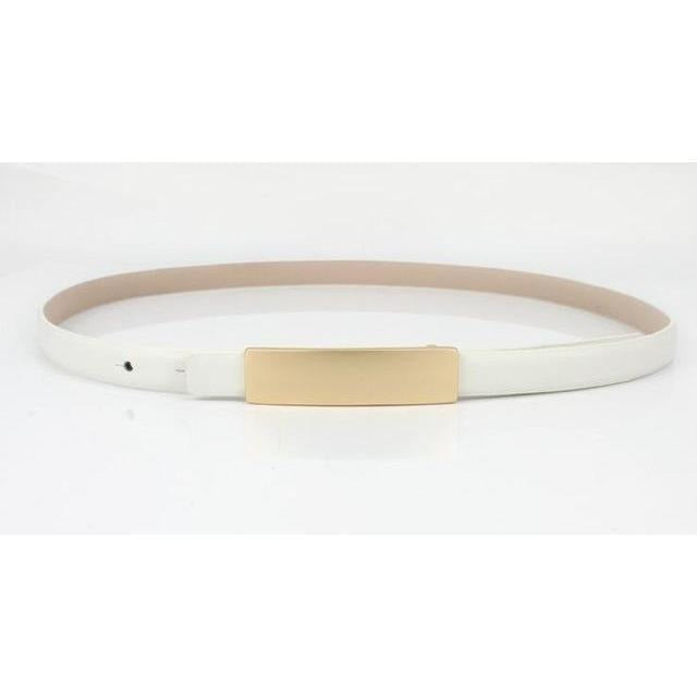 Metal Brief All-Match Genuine Leather Thin Belt Female-Belt-Sour Grapes Online-White-100cm-