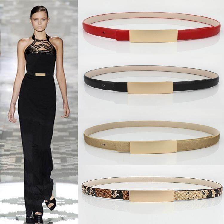 Metal Brief All-Match Genuine Leather Thin Belt Female-Belt-Sour Grapes Online-Gold-100cm-