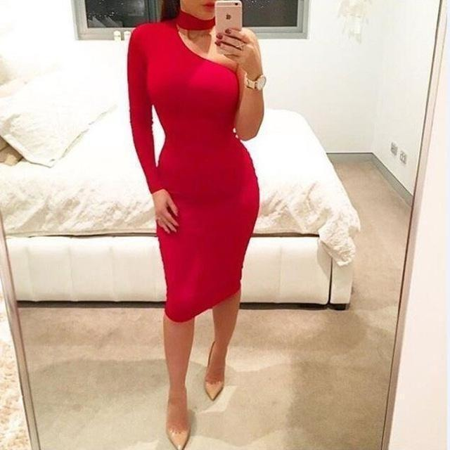 Nadafair Red Black White 2016 Autumn Dresses One Shoulder Halter Long Sleeve Women Pencil Dress Sexy Club Bodycon Party Dresses-Dress-Sour Grapes Online-Red-S-