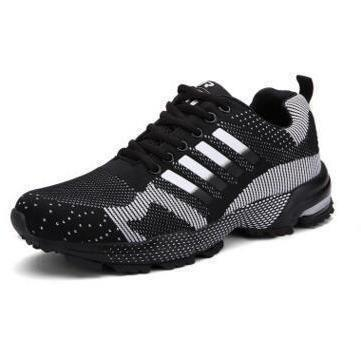 New Tide Men's Mesh Breathable Running Shoes Flat Shoes Men sneakers Lace Up Comfortable Shoes Women Lovers Sport Shoes 108-Sneakers-Sour Grapes Online-8701black-5-