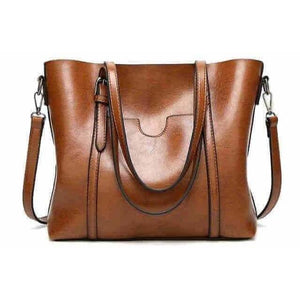 Oil wax Women's Leather Luxury Hand Bag w/ Purse Pocket-Handbag-Sour Grapes Online-Brown-32cmX12cmX29cm-