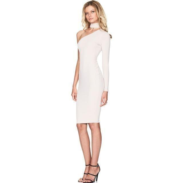 One Shoulder Halter Long Sleeve Pencil White Bodycon Dress-Dress-Sour Grapes Online-White-S-