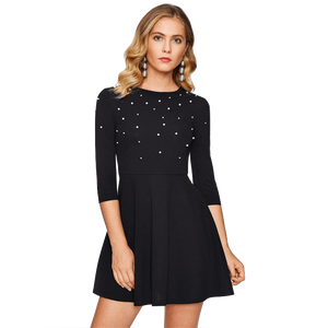 Pearl Embellished Zip Fit & Flare Black Mini Skater Party Dress-Dress-Sour Grapes Online-Black-XS-
