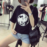 Chic Summer New Personality Planet Moon Printed Loose T Shirts Women Slim Leisure Short Sleeve White T-shirt Female Top M-XXL-T-Shirt-Sour Grapes Online-Black-L-