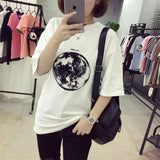 Chic Summer New Personality Planet Moon Printed Loose T Shirts Women Slim Leisure Short Sleeve White T-shirt Female Top M-XXL-T-Shirt-Sour Grapes Online-White-L-