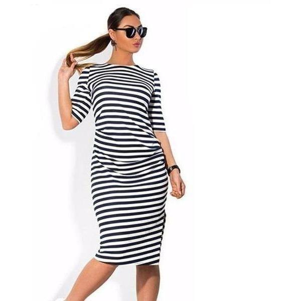 Plus Size Knee-Length Striped Casual O-Neck Loose Dress-Dress-Sour Grapes Online-L-Black & White-