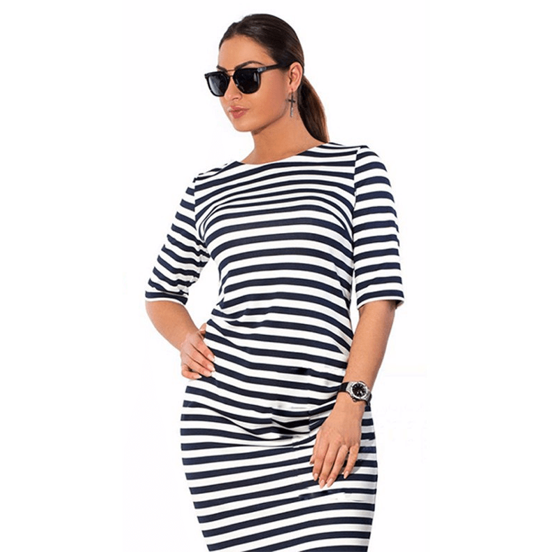 Plus Size Knee-Length Striped Casual O-Neck Loose Dress-Dress-Sour Grapes Online-2XL-Black & White-