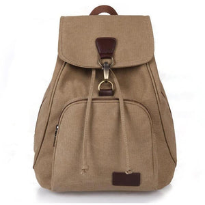 Preppy Style Canvas School Backpack Laptop Bag for Girls-Backpack-Sour Grapes Online-Dark Khaki-