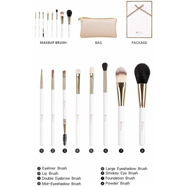 Professional Nature Bristle Makeup Brushes Set With Leather Bag
