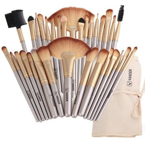 Professional Soft Champagne 32pcs Makeup Brushes Set Beauty Cosmetic Real Make Up Tools Eyeshadow Blush Blending w/Bag-MakeUp Brushes-Sour Grapes Online-