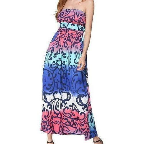 Refeeldeer Boho Summer Dress Women 2017 Summer Sundress Tunic Off Shoulder Floor Length Long Maxi Beach Dress Shirt Robe Femme-Maxi-Sour Grapes Online-Multicolor-L-