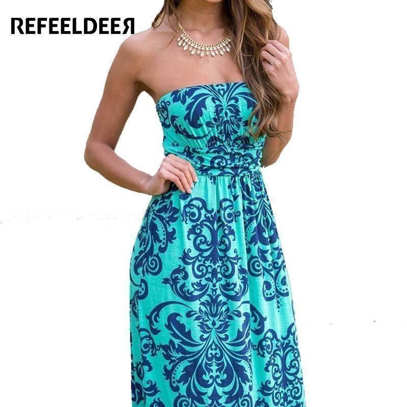 Refeeldeer Boho Summer Dress Women 2017 Summer Sundress Tunic Off Shoulder Floor Length Long Maxi Beach Dress Shirt Robe Femme-Maxi-Sour Grapes Online-Green-S-