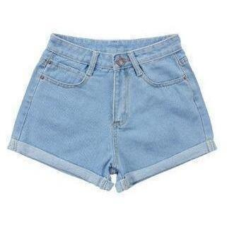 Retro High Waist Thin Curling Women Sky Blue Denim Shorts-Shorts-Sour Grapes Online-Sky Blue-26-
