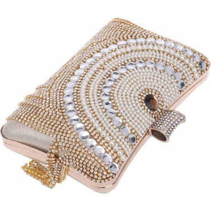 Rhinestones Tassel Diamond Beaded Chain Shoulder Metal Clutch Bag-Clutch-Sour Grapes Online-Gold-