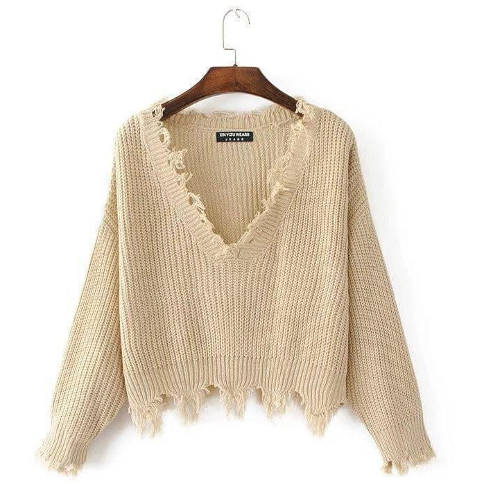 promo code 668e2 ecc43 Sexy Knitted V-neck Ripped Sweater Women Pullover Top