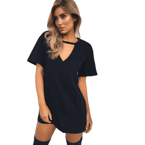 Sexy V Neck Casual Loose A-Line Plus Size Dresses for Women-Dress-Sour Grapes Online-Black-S-