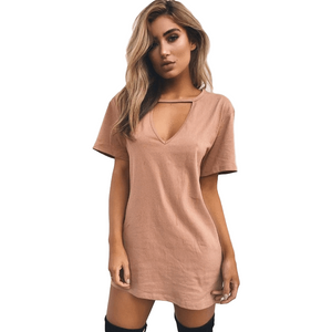 Sexy V Neck Casual Loose A-Line Plus Size Dresses for Women-Dress-Sour Grapes Online-Khaki-S-