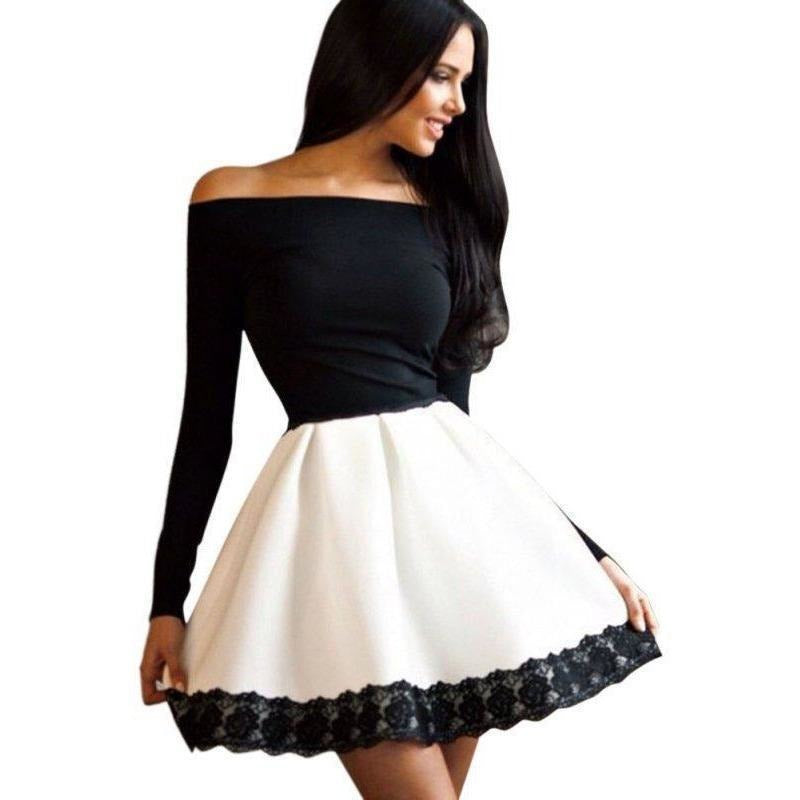 Sexy Women Off Shoulder Long Sleeve Party Mini Dress Black And White Gown