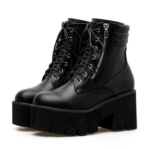 SG Ankle Boots Chunky Heels Lace Up Shoes Round Toe Platform Motorcycle Boots