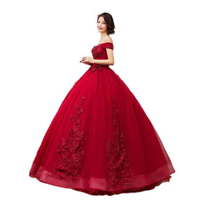 SG Applique Prom Dress Long Ball Gown Sweetheart Off Shoulder Evening Gown