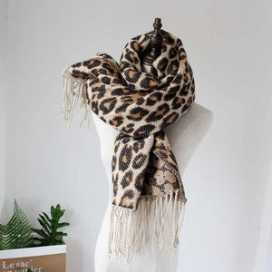 SG Brown Leopard Print Winter Scarf Warm Long Cashmere Stoles